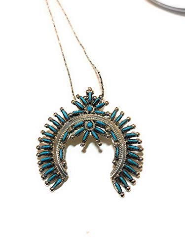 Zuni Sterling Silver Needle Point Inlay Turquoise Pendant from Nizhoni Traders LLC