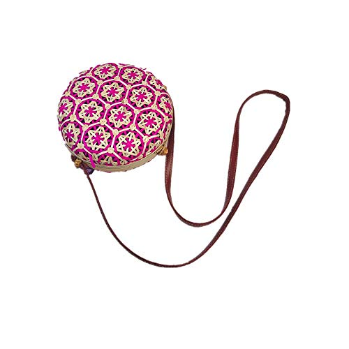 (Outique Crossbody Circle Handwoven Bali Round Retro Rattan Straw Beach Multicolor Fashion Bag for Women Girls)