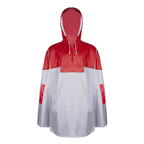 Balnna Rain Poncho with Hoods and Zipper Waterproof Raincoat for Outdoor Activities-Red by Balnna