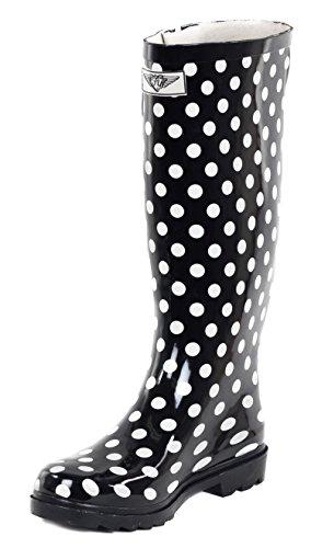 Botas De Lluvia De Mujer Con Goma Completa, Lunares Negros