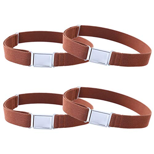 4PCS Kids Boys Adjustable Magnetic Belt - Elastic Belt with Easy Magnetic Buckle (4pcs Brown)