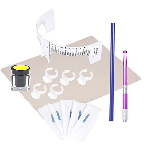 Pigment Kit - Anself Eyebrow Tattoo Permanent Makeup Set Microblading Kit with 5 Needles & Eyebrow Ruler & Eyebrow Pigment Practice Skin