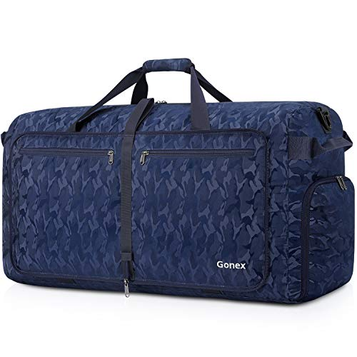 Gonex 150L Extra Large Duffle Bag, Packable Travel Luggage Shopping XL Duffel Black and Blue Camouflage