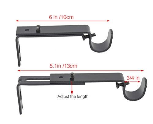 AddGrace Adjustable Curtain Rod Brackets Rod Holder/Bracket for Drapery Rod/Window Drapery (Set of 3, Black) by AddGrace (Image #5)
