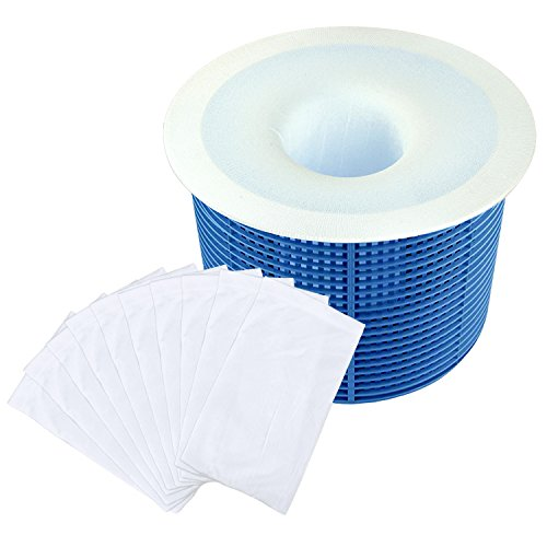 Hestya Filter Savers Pool Skimmer Socks Nylon Pool Filter Socks for Baskets and Skimmers, White, Basket is not Included (20 Pack) (Nylon Skimmer)