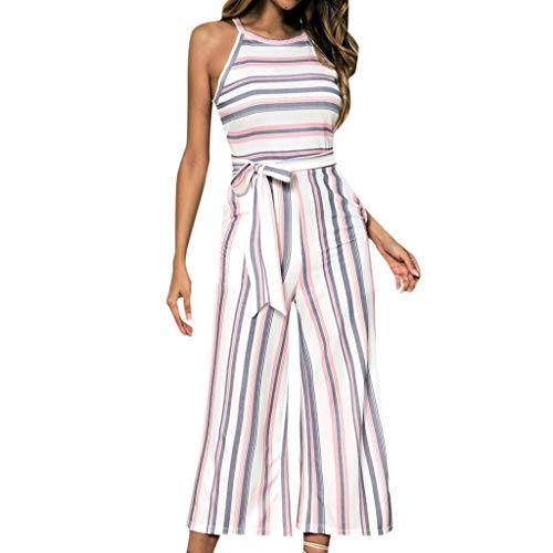 (Aunimeifly Women's Trumpet Sleeve Strappy Floral Print Playsuits Summer Holiday Beach Shorts Beach Jumpsuit Pink )