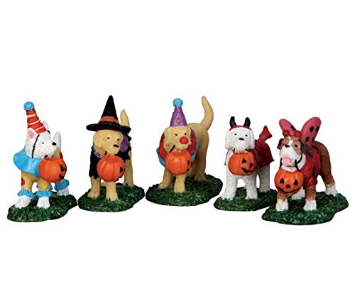 Lemax Spooky Town Trick Or Treating Dogs Set of 5 # 52301 -