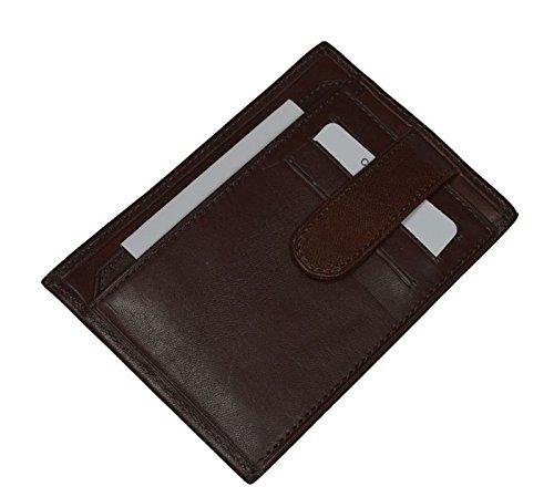 Schöne praktische Leder Braunes Leder-Portemonnaie für Herren PT018 Marrone
