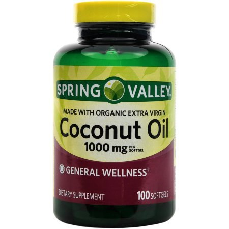 Spring Valley Made With Organic Extra Virgin Coconut Oil, General Wellness, 1000 Mg, 100 (Martin Spring)