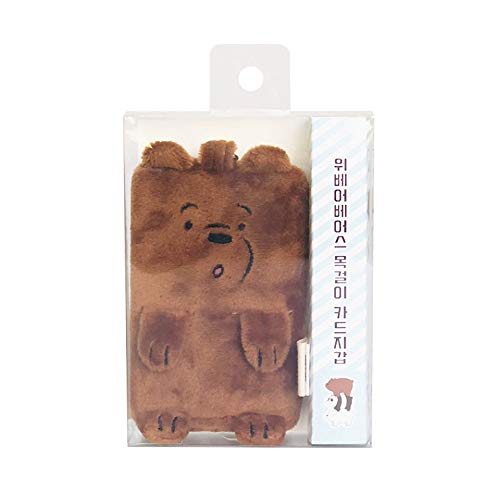 We Bare Bears Plush Card Wallet Holder Lanyard with Clear Window (Grizzly)