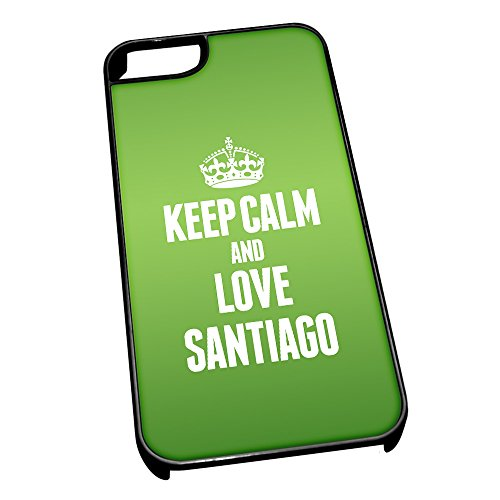 Nero cover per iPhone 5/5S 2367 verde Keep Calm and Love Santiago