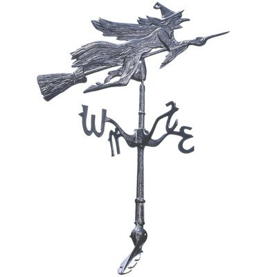 Design Toscano Windblown Wicked Witch Metal Weathervane with Roof Mount, 36 Inch, Aluminum, Black