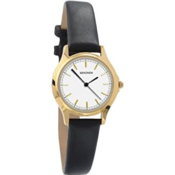 9fc72b40c6bac Sekonda Classic Analogue White Dial Gold Plated Case Black Strap Ladies  Watch 4136  Amazon.co.uk  Watches