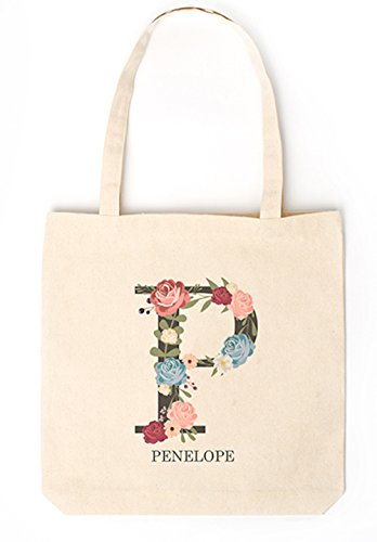 Personalized Monogram Tote - Unique Monogrammed Tote Bags Gifts for Women, Also a Gift for Mom (Letter P) by Qualtry