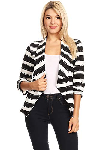 Solid & Printed Open Blazer Cardigan Jacket/Made in USA Stripe Black 3XL by HEO CLOTHING