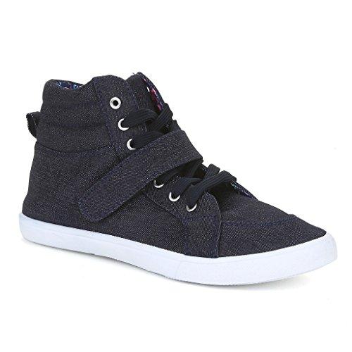 Twisted Women's Lane Lace-Up Hi-Top Fashion Sneakers- DENIM, Size 7.5