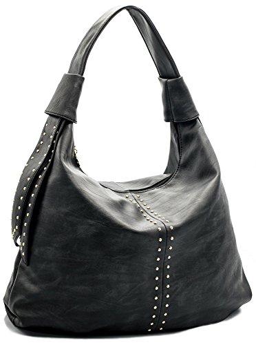 Studded Fashion Hobo Handbag (JOYISM Motorcycle Rivet Studded PU Leather Women Handbags Hobo Shoulder Bags Tote Top Handle Large Capacity Bags (Black))