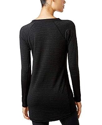Ideology Women's Active Long Sleeve Striped Tunic, Noir Feeder Stripe, XL