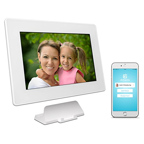 PhotoSpring (16GB) 10in WiFi Digital Photo Frame for Videos & Pictures, Touch Screen, Battery, iPhone & Android App, HD Screen, White - 15,000 photo capacity by PhotoSpring