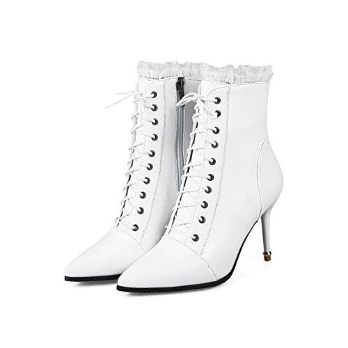 Aisun Damen Sexy Spitz Zehen Stiletto Schnürsenkel Stiefel Mit Reißverschluss Weiß 32 EU 6FPZnWJK