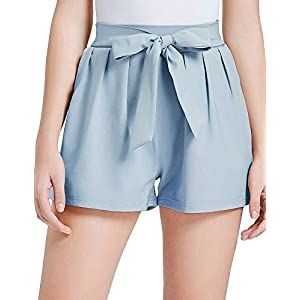 GRACE KARIN Women Bowknot Tie Waist Summer Casual Shorts with Pockets
