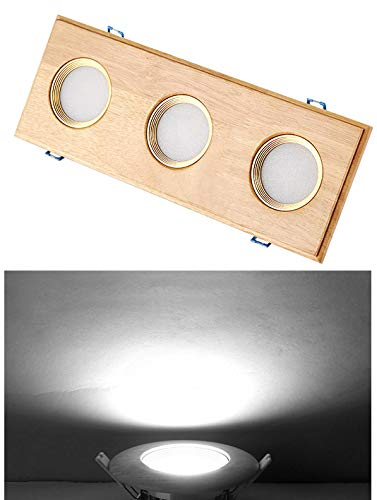 BRILLRAYDO 9W Dimmable 3-Head Grille Lamp Ceiling Light Fixture Wooden Recessed Lighting LED Flushed Mounted Pure White