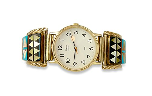 Men's 12KGF Silver Vintage Multi Inlay Turquoise Watch Tips