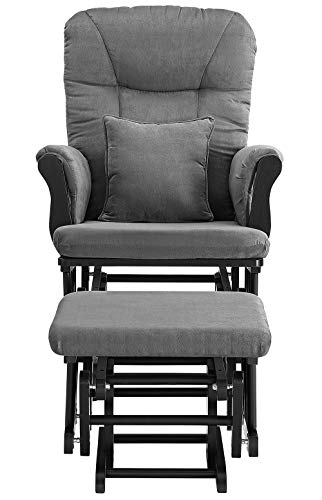 41UlHWflY7L - Angel Line Monterey Ii Glider & Ottoman, Black With Dark Gray Cushion