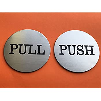 Amazon Com 2 Quot Round Push Pull Door Signs Brushed Silver