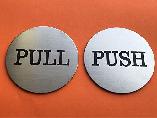 Do4U 3 Brushed Stainless Round Premium Push Pull Door Sign Sticker Push/Pull Set - Stainless Steel (1 Pair)