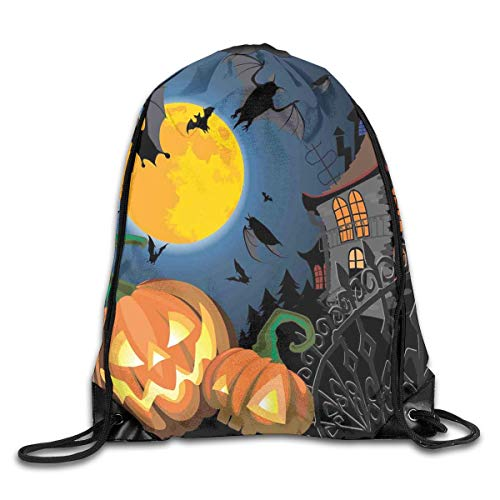 Drawstring Backpacks Bags,Gothic Halloween Haunted House Party Theme Design Trick Or Treat Motifs Print,5 Liter -