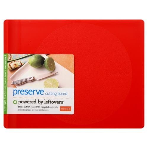 (Preserve 9.5 x 7.5 Inch Cutting Board Made from Recycled Plastic, Red by Preserve)