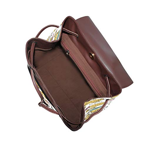 Kvinnor PU-läder handritat kattungemönster med element ryggsäck handväska resa skola axelväska ledig dagväska
