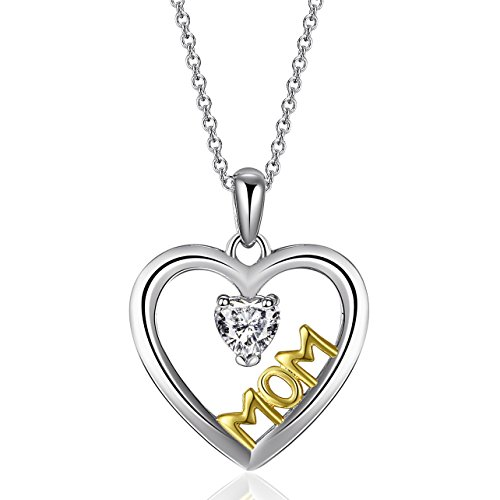 Caperci Sterling Silver Mothers Day Gifts Jewelry MOM Heart Pendant Necklace for Mom and Women, (Yellow Gold 18' Rolo)