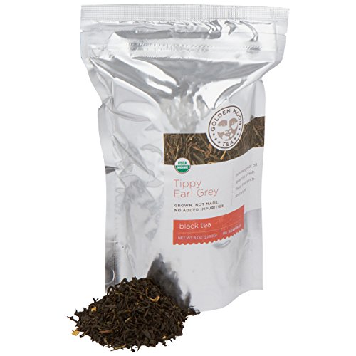 Golden Moon Tea - Tippy Earl Grey Loose Leaf Tea | Fresh All Natural Revitalizing Flavor & Aroma | Real Italian Bergamot Peels & Extract | 96 Servings of Earl Grey Organic English Style Tea