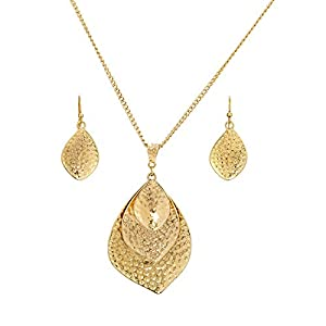 Madison Tyler Classic Collection Gold Plated 32 1/2″ Layered Teardrop Necklace and Earring Set