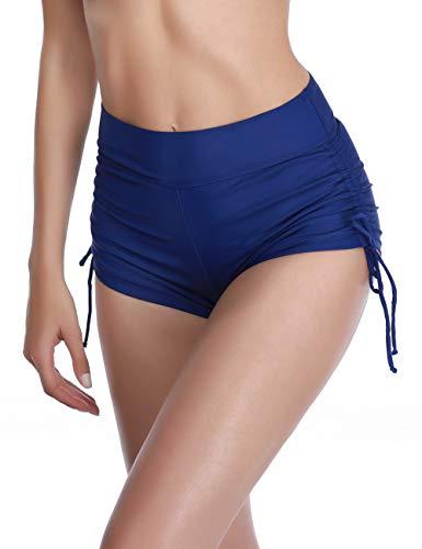 AXESEA Women's Rash Guard Swim Shorts Boyleg Modest Mid-Waist Tankini Bottoms (XL, Deep Blue)