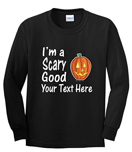 Custom Costume Contact Lenses (Custom Hallowen Costume Personalized Halloween I'm a Scary Good Your Text Youth Long Sleeve T-Shirt Small Black)