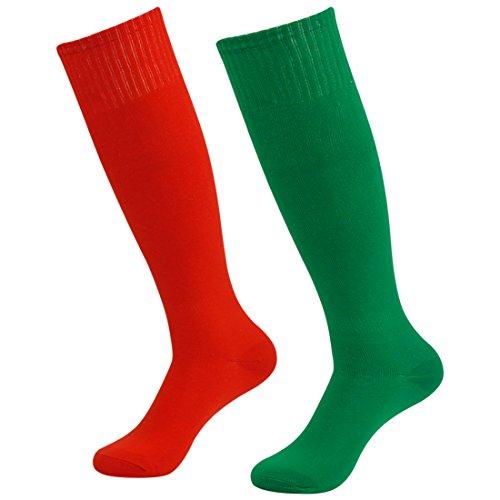 Fasoar Men's Women's Comfort Fancy Design Knee High Socks Soccer Socks Pack of 2 Red Green  2 pack red green  One Size