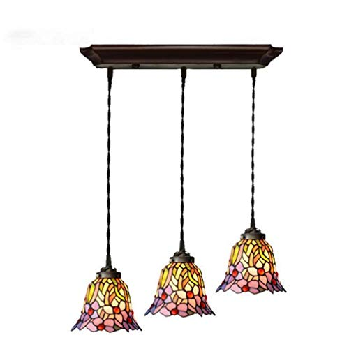 Orchid Pendant Lighting - Tiffany Style Pendant Lights for Ceiling, 3-Light Downlight Stained Glass Orchid Pattern Shade Metal Fitting Pendant Lamp Kit 110-240V/ E26 / E27