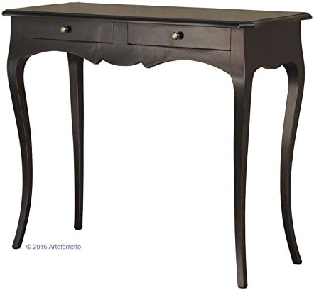Artigiani Veneti Riuniti Consola Color Negro, Mesa Consola de recibidor, Mueble de recibidor, Consola de Madera Hecha por Artesanos, Consola 2 cajones: Amazon.es: Hogar