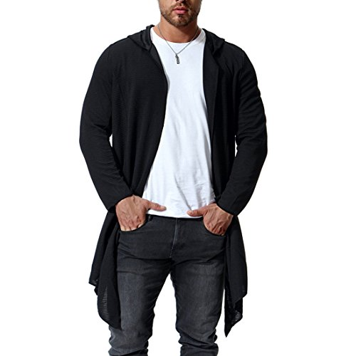 SySea Mens Open Front Long Sleeve Knit Draped Lightweight Shawl Collar Long line Hooded Cardigans by SySea