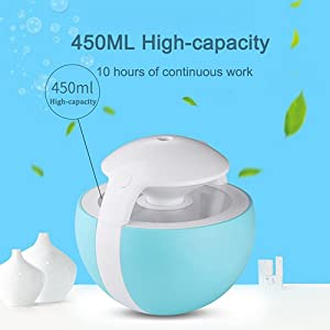 Cool Mist Humidifier, BAVIER 450ml Desk Humidifier 7 Color LED Night Light and 2 Type Model With Timed Auto Shutdown,Air Purifier Humidifiers for Baby, Bedroom & car(Light blue)