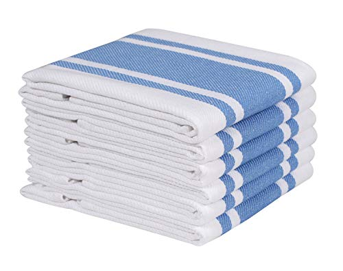 Heavy Duty Oversized Kitchen Towels & Dishcloth (Set of 6 Sky Blue 18x28) Highly Absorbent, Professional Grade Cotton Tea Towels for Everyday Cooking and Baking- Modern Clean Striped Pattern
