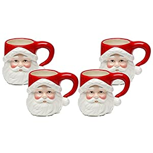 "Christmas Ceramic Classic Santa Heads Beverage Drinking Mugs, Red & White, Set of 4, Medium, 5.5"" x 3.9"" x 4.1"""