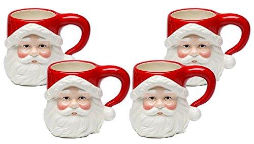 Christmas Ceramic Classic Santa Heads Beverage Drinking Mugs, Red & White, Set of 4, Medium, 5.5