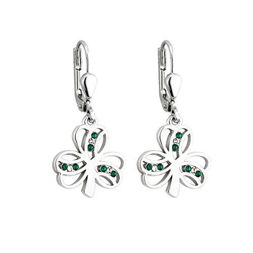 Shamrock Earrings Rhodium Plated & Crystal Drops Irish Made