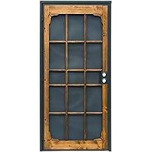 Prime-Line 3809BZ3068-I-WF Woodguard Steel Security Door – Traditional Screen Door Style with the Strength of a Steel Security Door – Steel and Wood Construction, Non-Handed, Bronze
