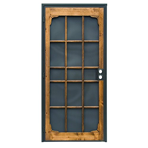 Prime-Line 3809BZ3068-I-WF Woodguard Steel Security Door - Traditional Screen Door Style with the Strength of a Steel Security Door - Steel and Wood Construction, Non-Handed, Bronze