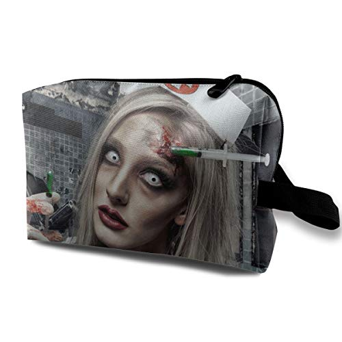 Halloween Zombie Bloody Nurse Scary Multi-function Travel Makeup Toiletry Coin Bag Case -